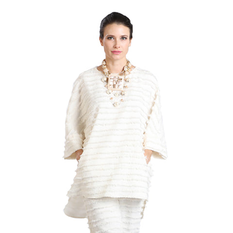 IC Collection Eyelash Fringe High-Low Tunic in Ivory - 1222T-IVR