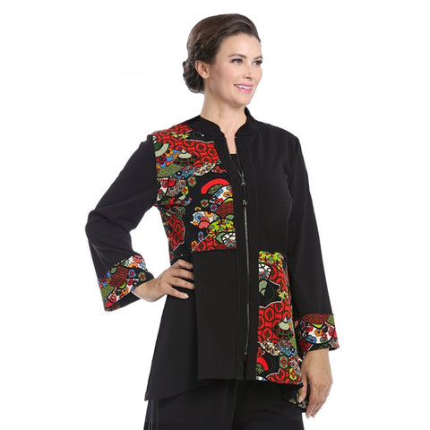 IC Collection Colorblock Floral Zip Front Jacket in Black - 3664