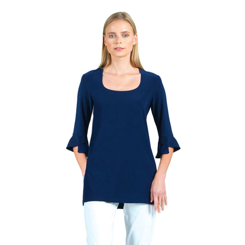 Clara Sunwoo U-Neck Tulip Sleeve Tunic in Navy - TU22-NV