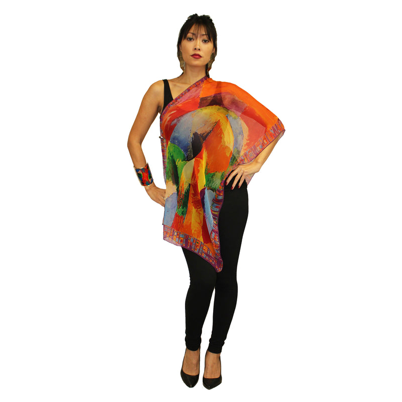 Dilemma Delaunay Art Inspired Silk Scarf  NS-23-DEL
