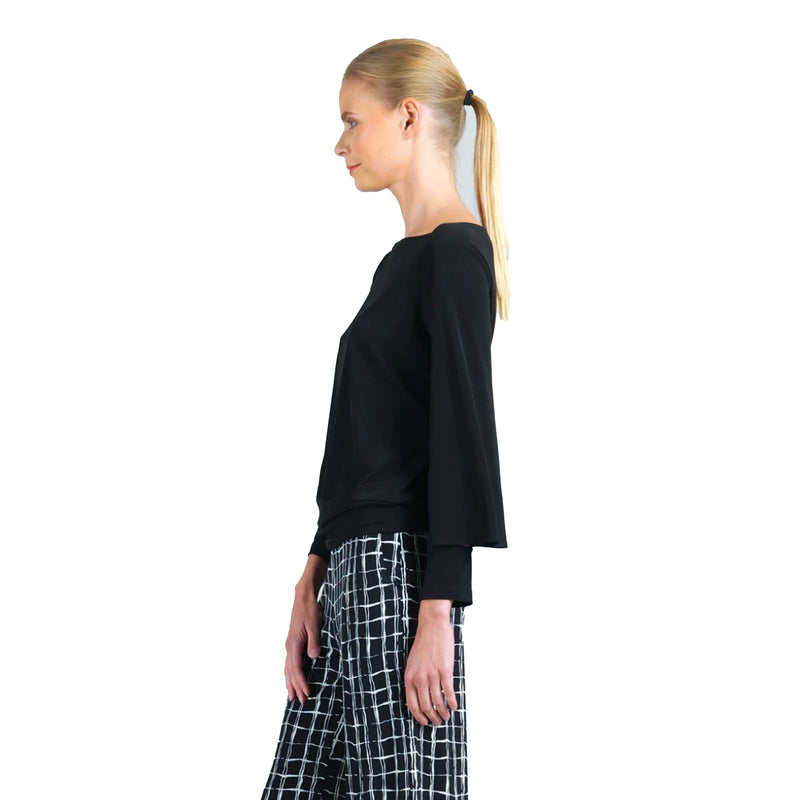 Clara Sunwoo Soft Knit Boat Neck Top in Black - T206-BLK - XS, S, L & 1X