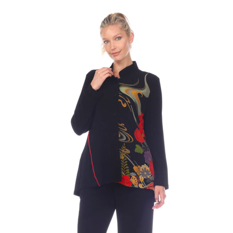Moonlight Button Front Floral & Swirl Jacket -  CM-104-MLT