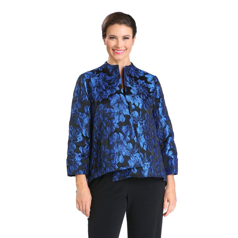 IC Collection Floral Jacquard Asymmetric Jacket in Blue - 1569J-BLU