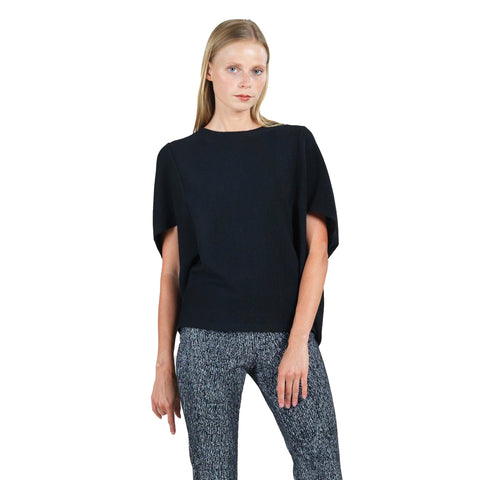 Clara Sunwoo Ribbed Cape Sleeve Sweater Top in Black - T155W-BK