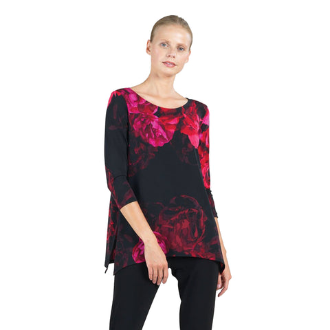 Clara Sunwoo Floral Tunic w / Side Slits  - TU104P4 - Sizes M, XL & 1X
