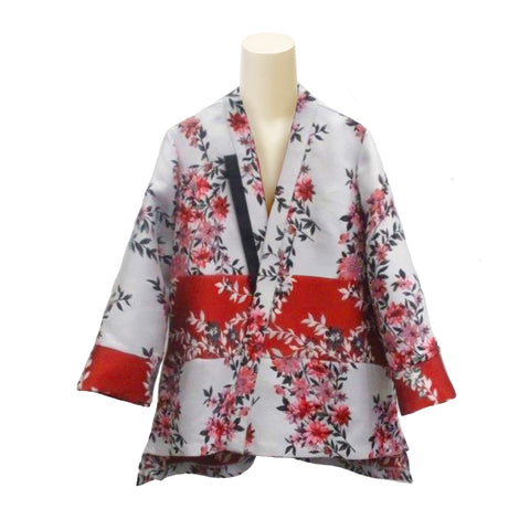 IC Collection Two-Tone Floral Jacquard Open Front Jacket  - 3858J