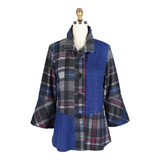 Damee Plaid Colorblock Sweater Knit Jacket in Blue - 4664-BLU