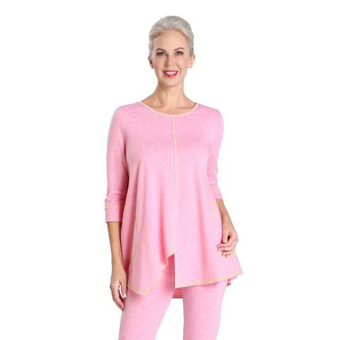 IC Collection Soft Knit Asymmetric Tunic in Pink - 3703T-PNK