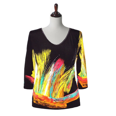 "Valentina ""Brush Strokes"" V-Neck Print Top in Multi/Black - 4327-1"