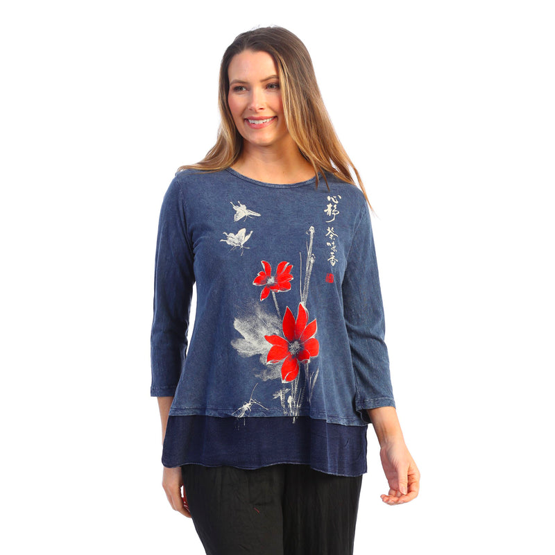"Jess & Jane ""Blissful"" Printed Mineral Washed Tunic Top - M48-1616"