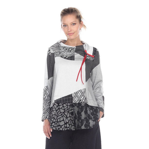 Moonlight Mixed-Print Soft Knit Cowl Neck Tunic - 3183-B/W