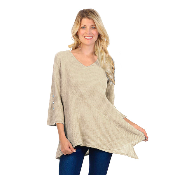 Focus Lightweight Waffle-Knit V-Neck Tunic in Flax - LW-102-FLX
