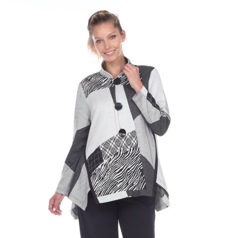 Moonlight Colorblock Print Jacket in Grey - 3180-GRY