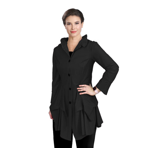IC Collection Parachute Shirt/Jacket in Black - 3820J-BLK