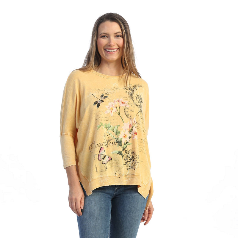"Jess & Jane ""Nap Time"" Floral Print Top in Wheat - M15-1608"