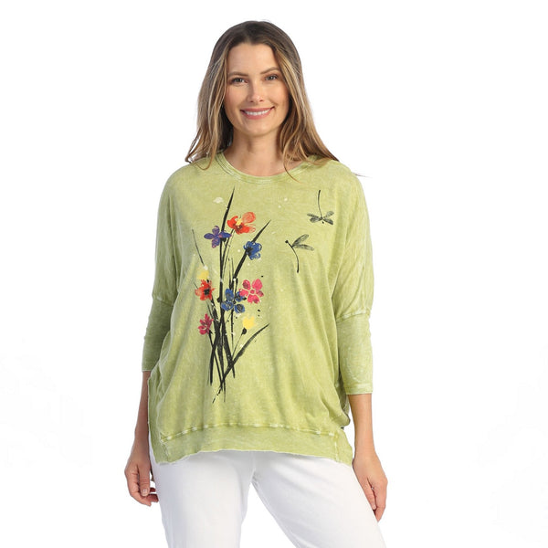 "Jess & Jane ""Serenity"" Floral Print Top in Cactus - M15-1582"