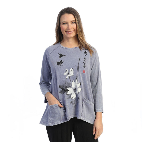 "Jess & Jane ""Blissful"" Mineral Washed Patch Pocket Tunic Top - M12-1616"