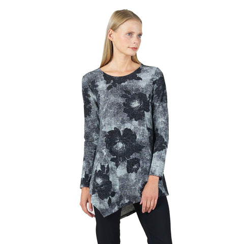 Clara Sunwoo Floral Sweater Tunic in Grey/Multi - T69WP20