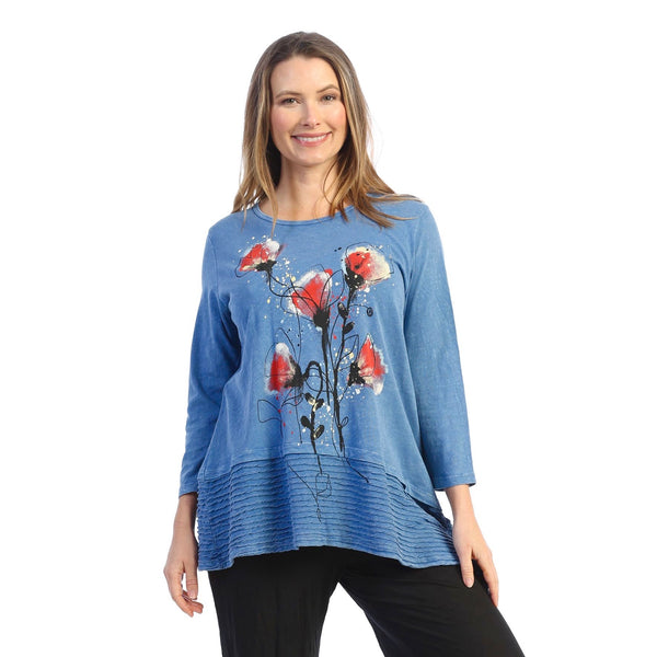 "Jess & Jane ""Blooming"" Abstract Print Mineral Washed Tunic - M54-1609"