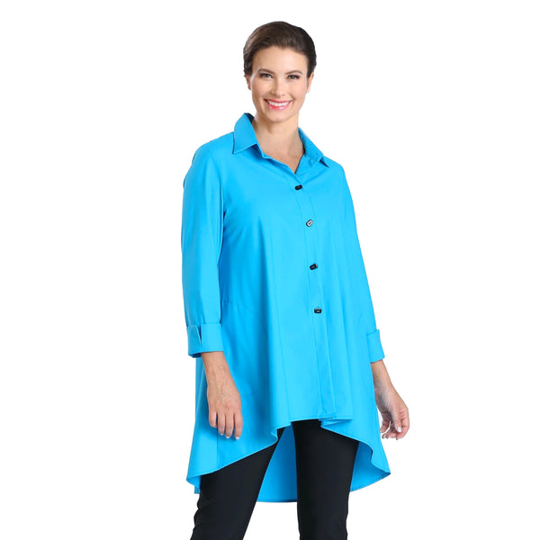 IC Collection Button Front High-Low Shirt/Jacket in Turquoise - 3815J-TQ