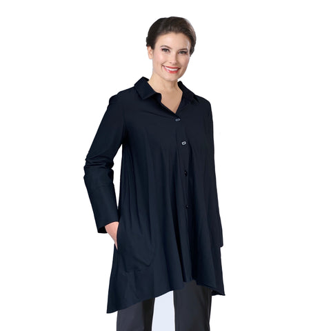 IC Collection Button Front Parachute Shirt in Black - 3815J-BLK