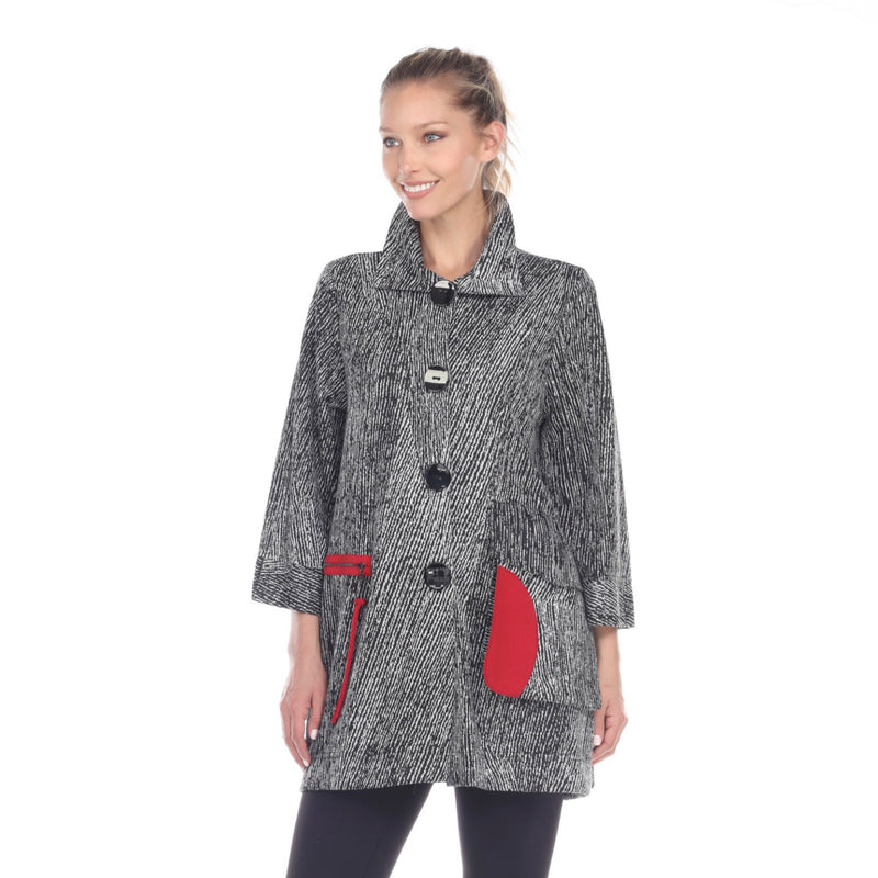 Moonlight Button Front Sweater Knit Jacket in Black/Grey/Red   2706-GRY