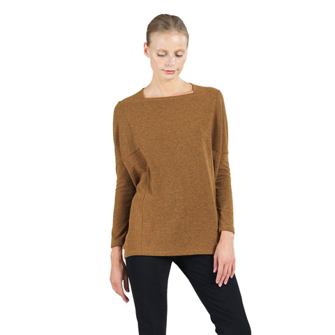 Clara Sunwoo Hacci Sweater Knit Rectangular Boat Neck Top in Honey - T133WE-HON