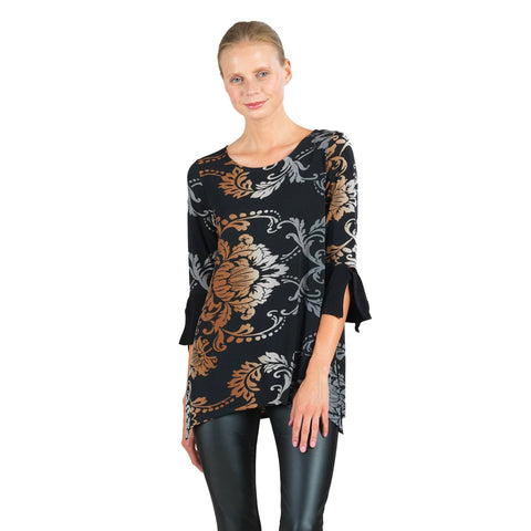 Clara Sunwoo Damask Tie Cuff Tunic in Charcoal Multi - TU72P12