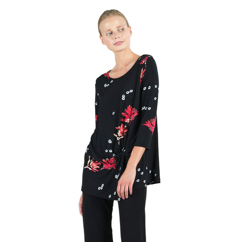 Clara Sunwoo Floral Twist Tunic Rose/Multi - TU60P6 - Sizes XS, XL & 1X