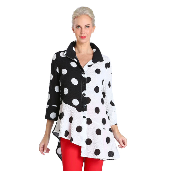 IC Collection Polka Dot High-Low Blouse in Black/White - 2811B