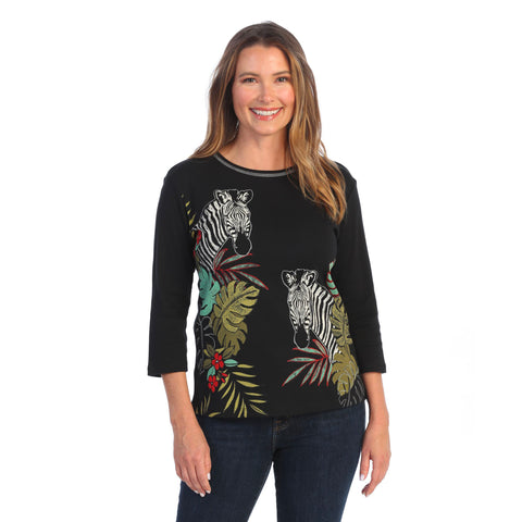 "Jess & Jane ""Tanya"" Abstract Top in Black - 14-1543"