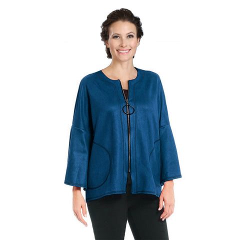 IC Collection High-Low Faux Suede Jacket in Teal - 3131J-TL - Sizes S & M Only
