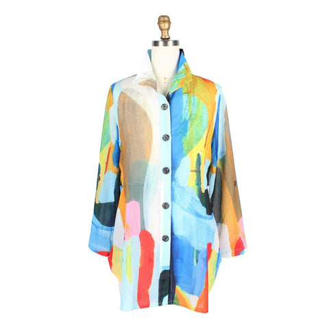Damee Abstract Art Shirt in Light Blue/Multi - 7063