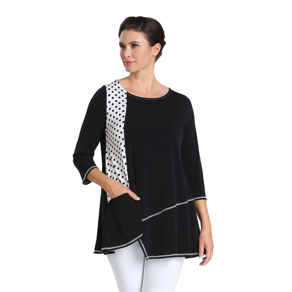 IC Collection Polka Dot Accent Tunic Top in Black/White  - 2426T