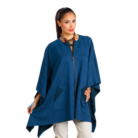 IC Collection Faux-Suede Zip-Front Cape in Teal - 1205PC-TL