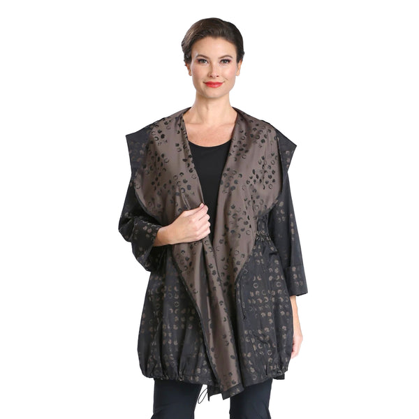 IC Collection Two-Tone Print Hooded Jacket in Brown - 3872J
