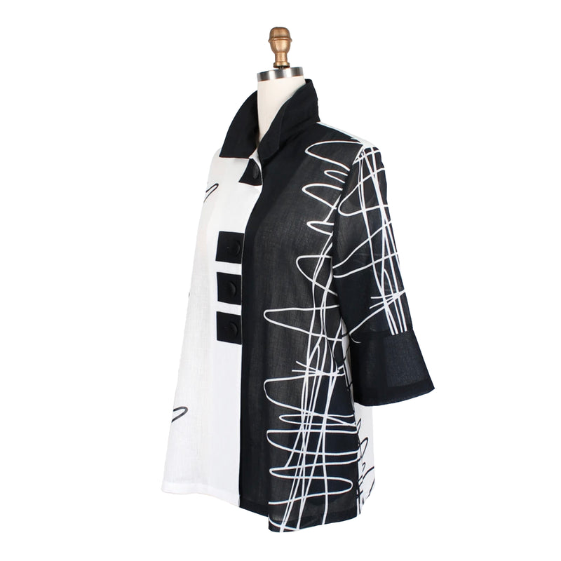 "Damee ""Scribbles"" Two-Tone Sheer Jacket in Black/White - 4687-BK - Size S, M & XXL Only"