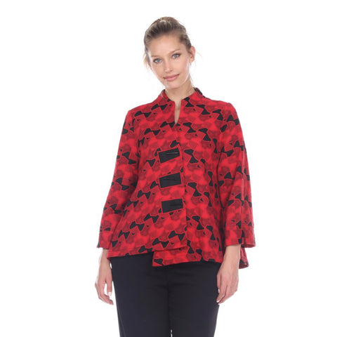 Moonlight Geo Jacquard Asymmetric Jacket in Red & Black - 2953-RED