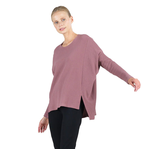 Clara Sunwoo Ribbed Oversized Sweater in Mauve - T199W-MVE