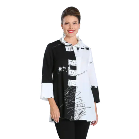 New! IC Collection Colorblock Button Front Jacket in Black/White - 2875J