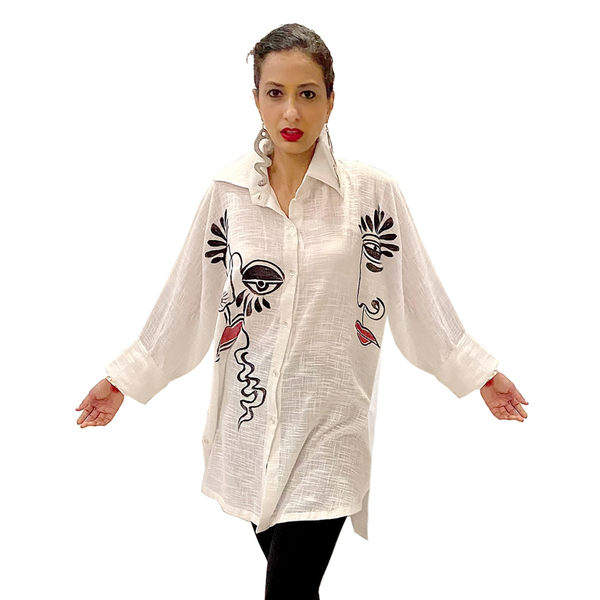 Dilemma Fashions Picasso Shirt in White - GDB-560-WT