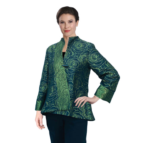 IC Collection Jacquard Asymmetric Jacket in Kiwi - 3806J-KW - Sizes S & XL Only