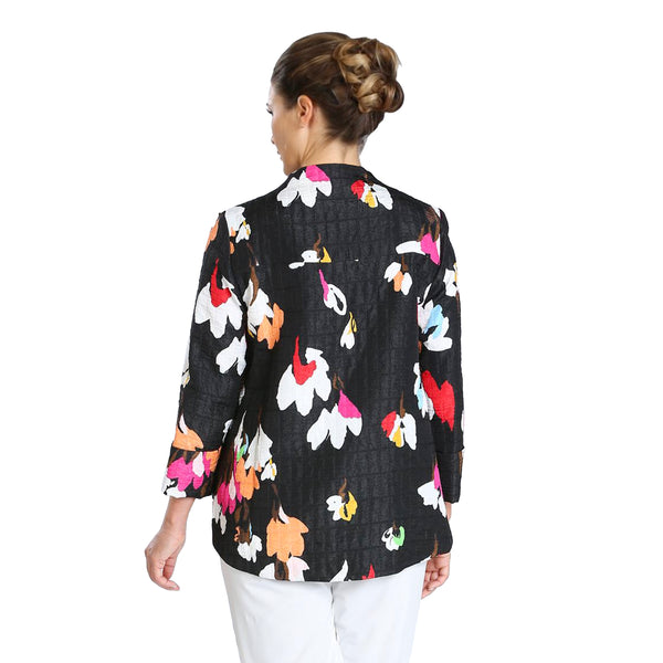 IC Collection Abstract Floral Asymmetric Jacket in Red/Multi - 3841J-RED