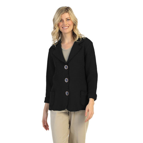 Focus Fashion Waffle Jacket in Black - SW203-BLK