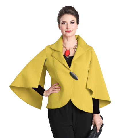IC Collection Soft Techno Knit Split-Sleeve Jacket in Mustard - 3132J-MST - Sizes M - XXL