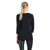 Clara Sunwoo Solid Soft Knit Side-Tie Tunic in Black - T61-BLK