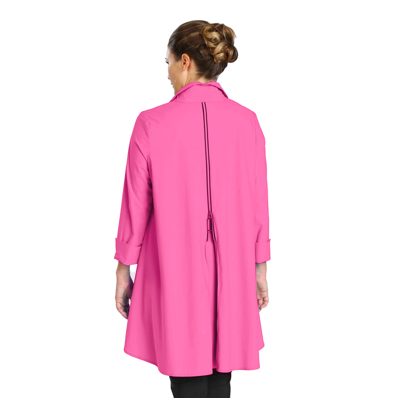 IC Collection Button Front High-Low Parachute Shirt/Jacket in Pink - 3815J-PNK