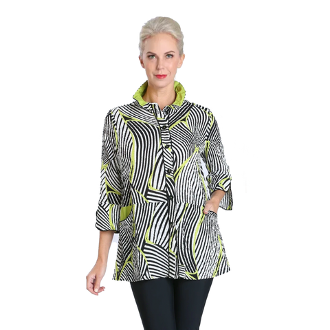Mixed Stripe Button Front Shirt in Lime - 2342J-LME