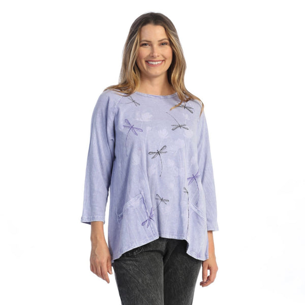 "Jess & Jane ""Fly Time"" Mineral Washed Top in Periwinkle - M12-1587"