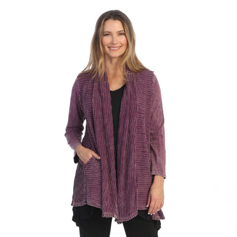 Jess & Jane Wave Contrast Open Front Cardigan in Plum - M57-PLM